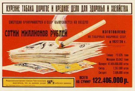 Советские социальные плакаты 1930-1940 - «Курение табака дорогое и вредное дело для здоровья и хозяйства...», Неизвестный художник, 1930 г