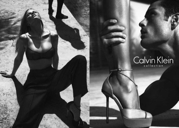 Рекламная фотосессия для одежного бренда Calvin Klein с Лара Стоун (Lara Stone) и Тайсон Балу (Tyson Ballou).