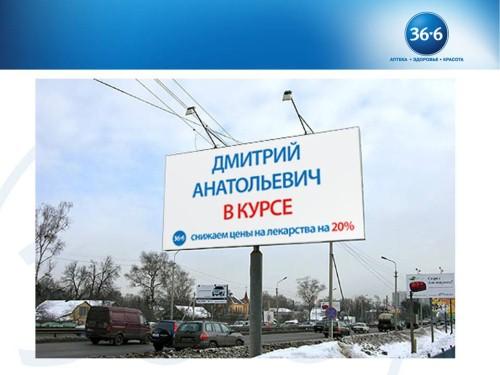 Наружная реклама сети аптек 36.6