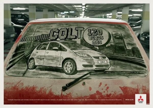 Нестандартная реклама на грязных автомобилях - Mitsubishi