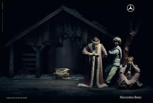 Рождественский рекламный плакат mercedes-benz