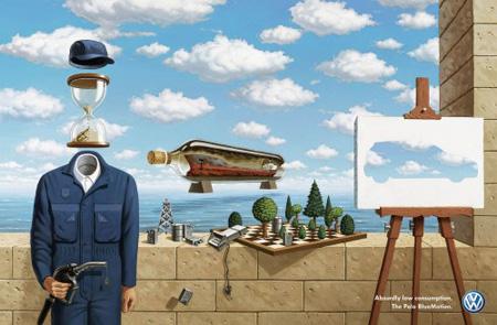 Рекламные принты для Volkswagenв стиле художественных работ великих живописцев (Сальвадор Дали)