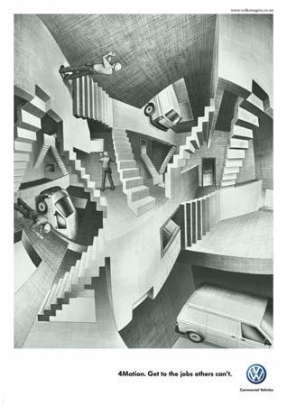 Рекламные принты для Volkswagenв стиле художественных работ великих живописцев (Эшер)