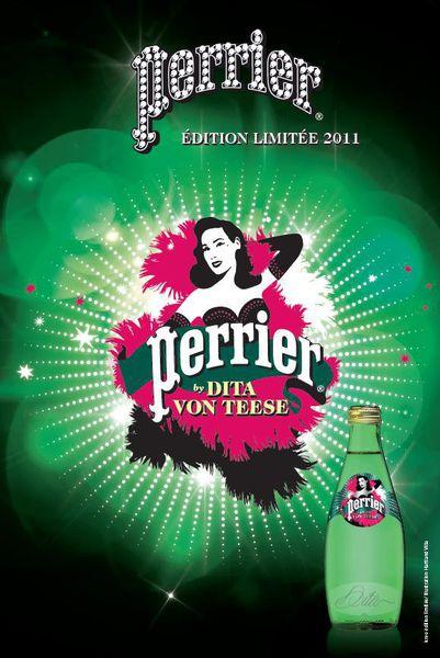 Дита фон Тиз снова появилась на упаковке воды Perrier
