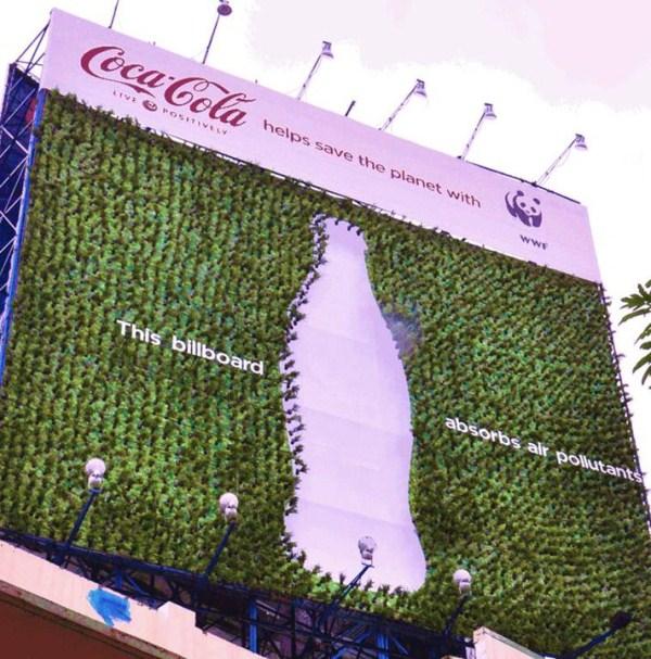 Реклама из живых растений - Coca-Cola