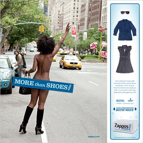 """печатная Реклама принты Zappos """"More than shoes""""."""