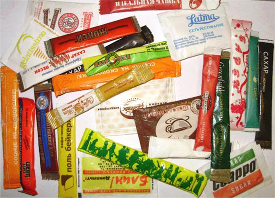 Фирменные мини упаковки сахара