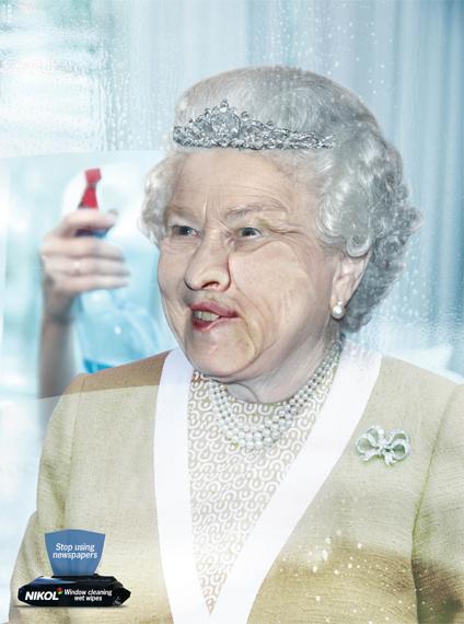 печатная реклама влажных салфеток Nikol для мытья стекол - королева Елизавета - рекламное агентство Gitam BBDO