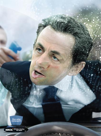 печатная реклама влажных салфеток Nikol для мытья стекол - Саркози - рекламное агентство Gitam BBDO