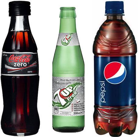 Diet Pepsi, Pepsi Max, 7Up Free и Coke Zero (Coke)