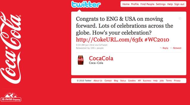 Релкмная кампания Coca-Cola в твитере