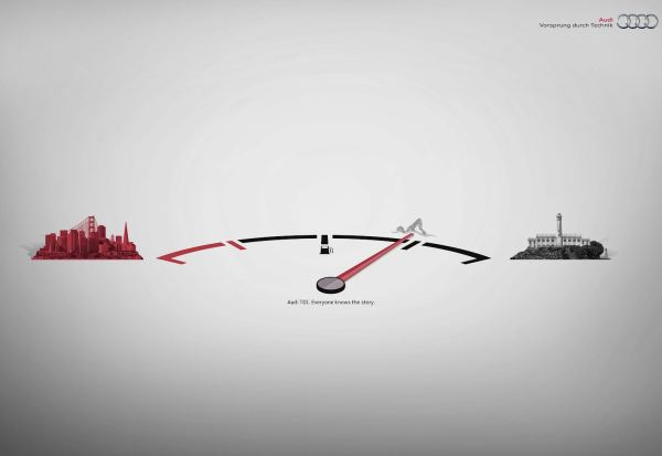 Отрывки истории в печатной рекламе Audi