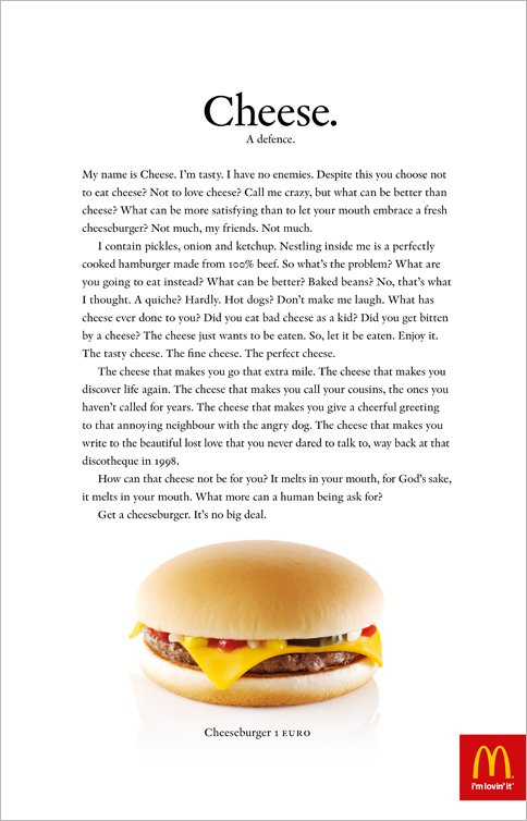 Монолог Чизбургера в рекламе McDonald's
